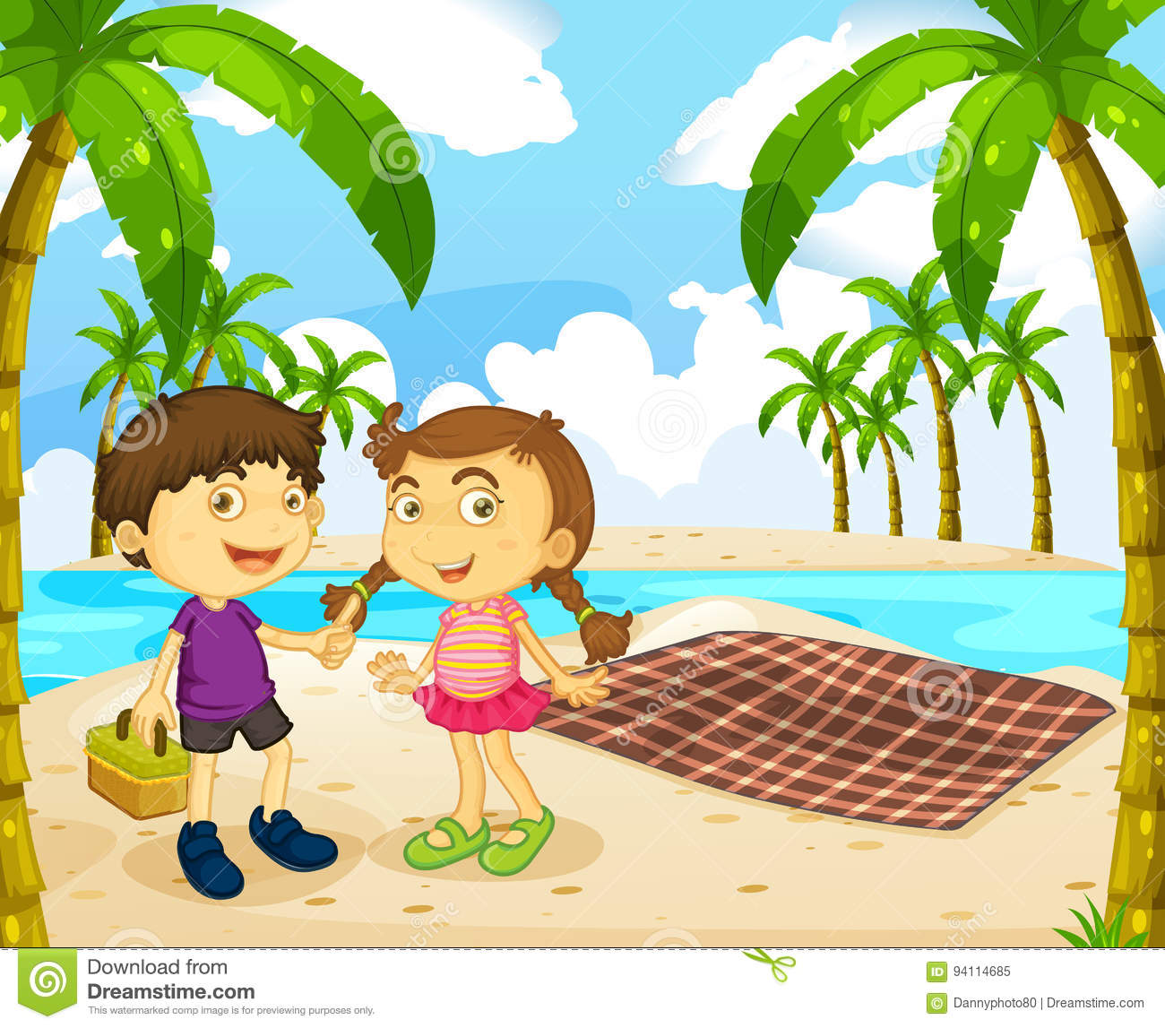 Boy And Girl Picnic On The Beach Stock Vector ...
