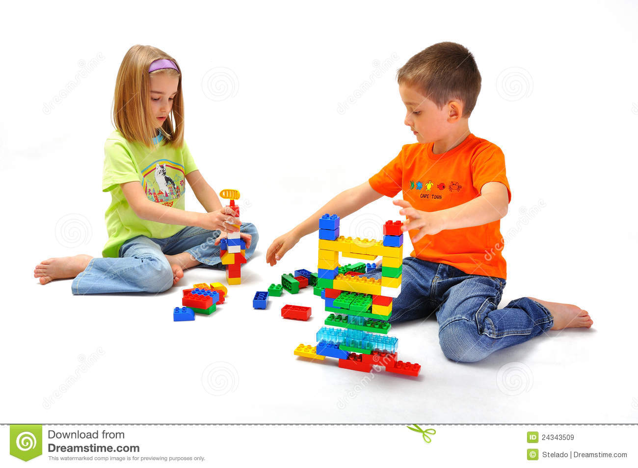 Boy And Girl Playing With Constructor Royalty Free Stock -7719