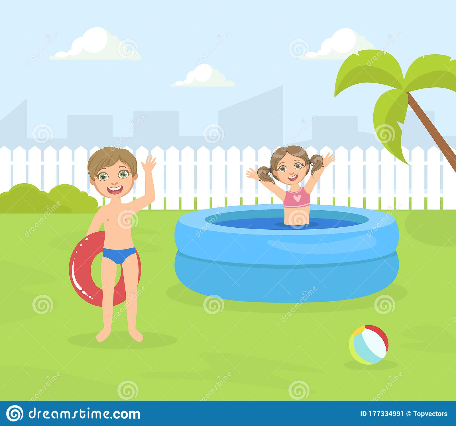 Boy And Girl Playing In Water Stock Vector - Illustration
