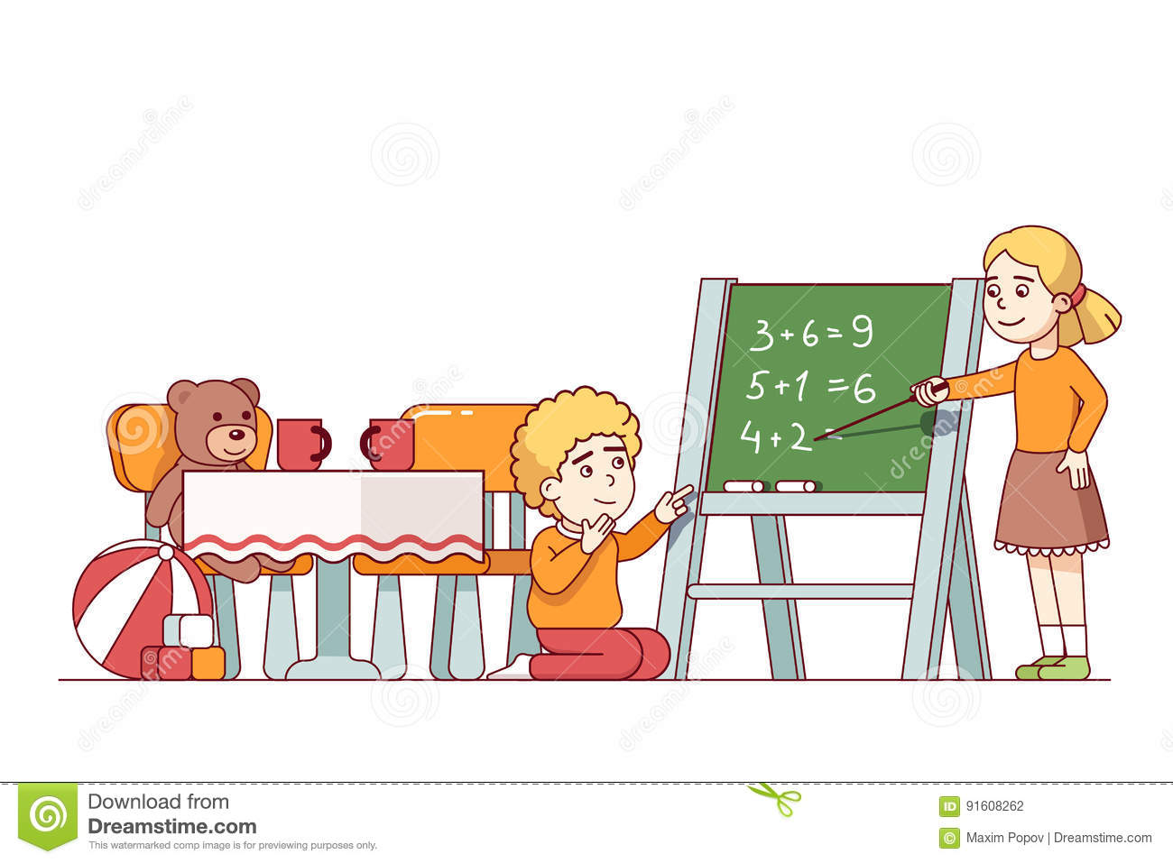 Boy And Girl Playing And Learning Math In Kid Room Stock Vector ...