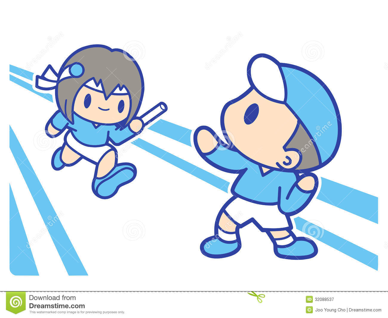 ... : Boy and girl is playing relay race. Education and life Character