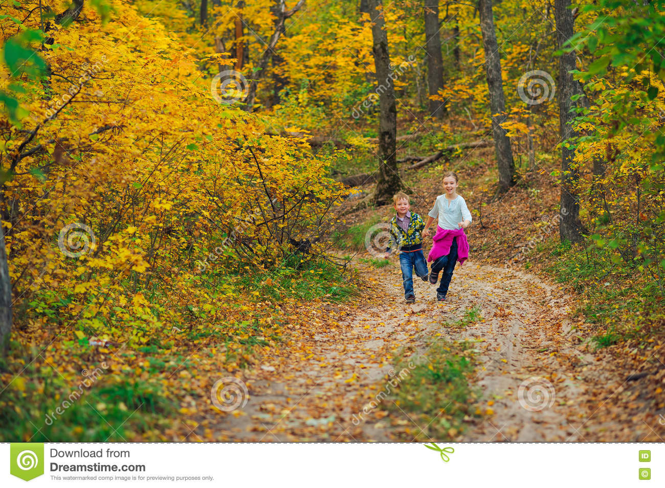 Boy In Autumn Forest Playing Royalty-Free Stock Photo ...