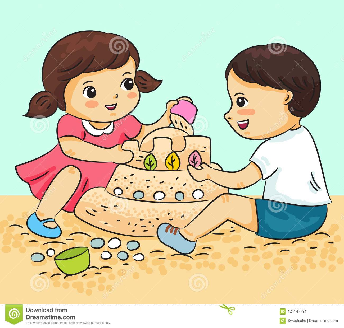 Boy and girl playing with sand vector illustration