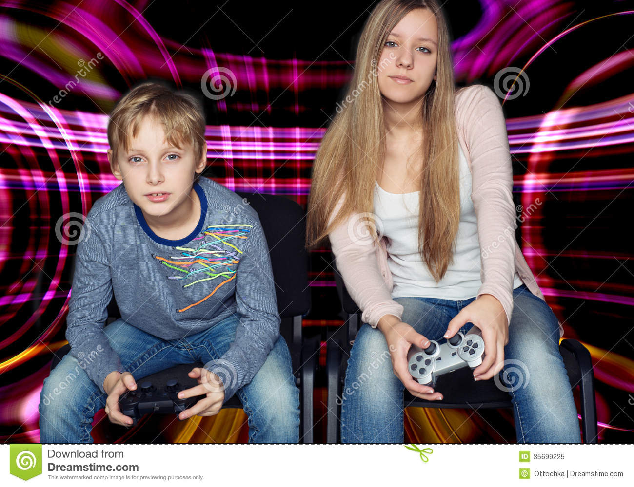 Boy And Girl Playing Video Games Stock Image - Image: 35699225