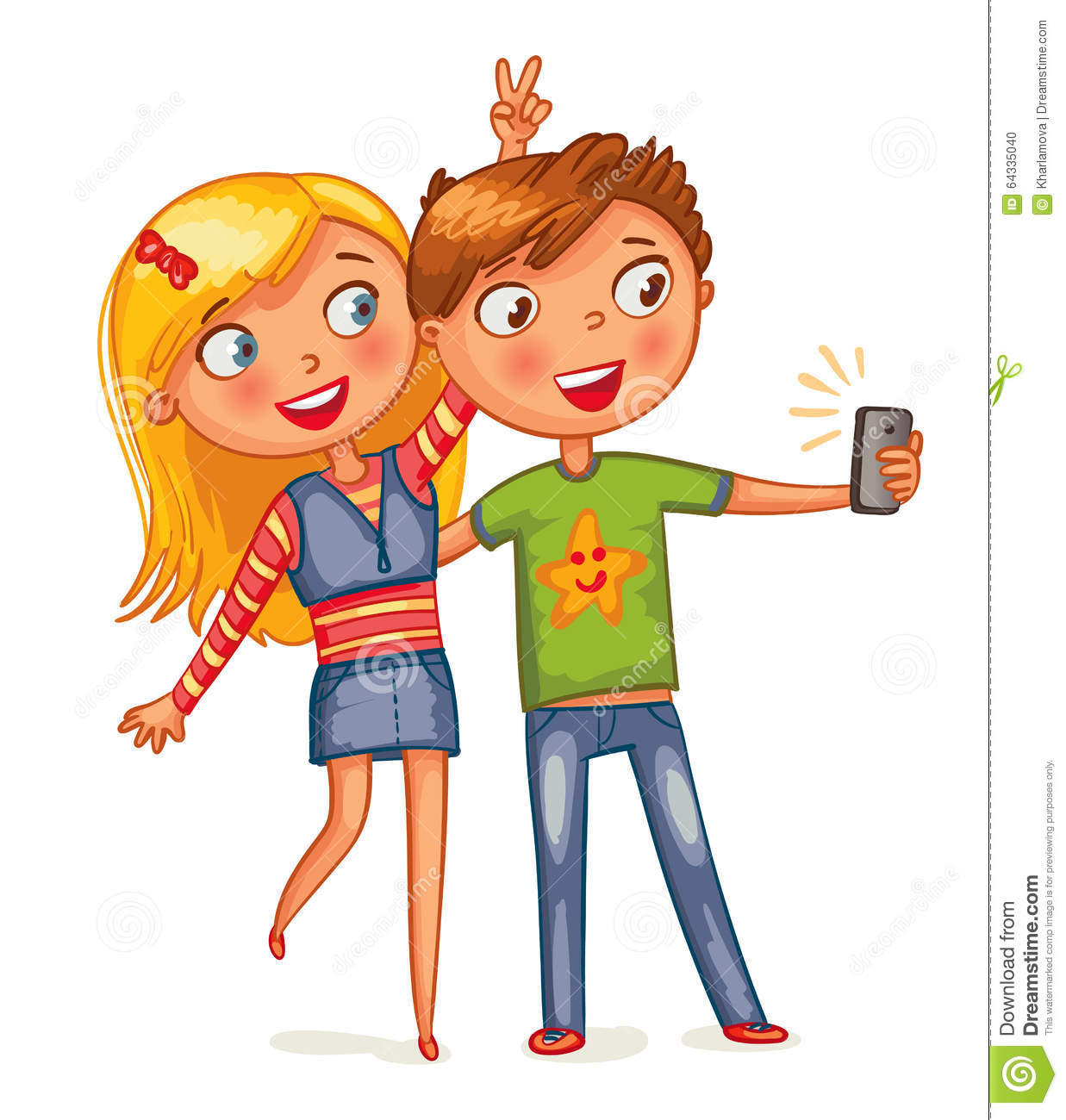 Boy And Girl Posing Together Stock Vector - Illustration ...