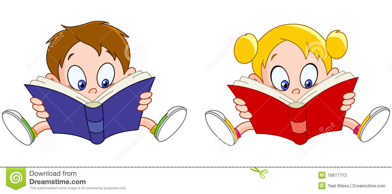 boy and girl reading books stock vector. illustration of people