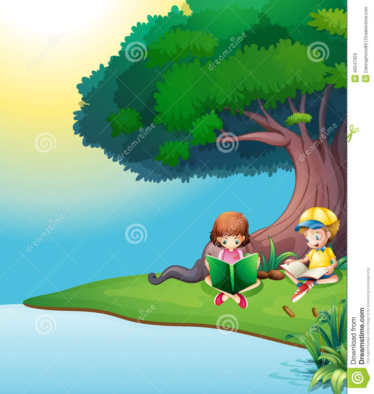 a boy and a girl reading under the tree stock vector