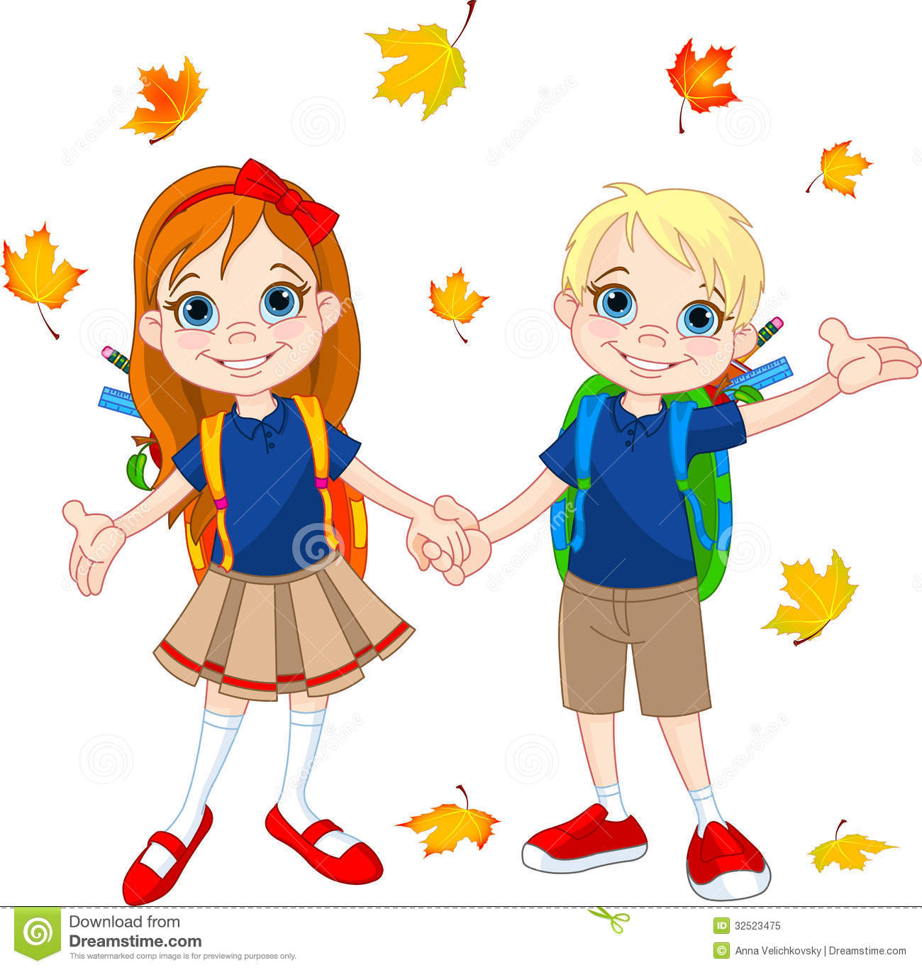 Boy And Girl Ready To School Royalty Free Stock Photo -6277
