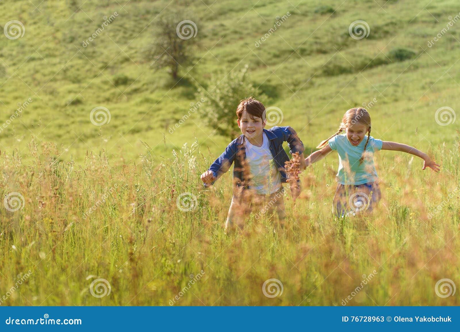 Girl Running In Field