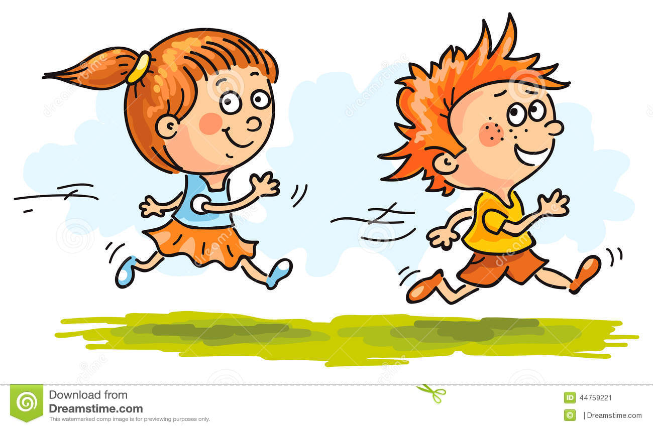 boy and girl running quickly stock vector illustration of vector