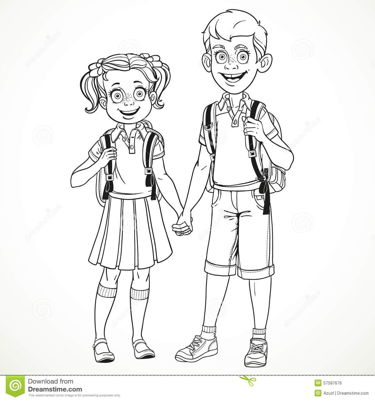 Boy And Girl With A School Bag Holding Hands Line Drawing Stock Vector
