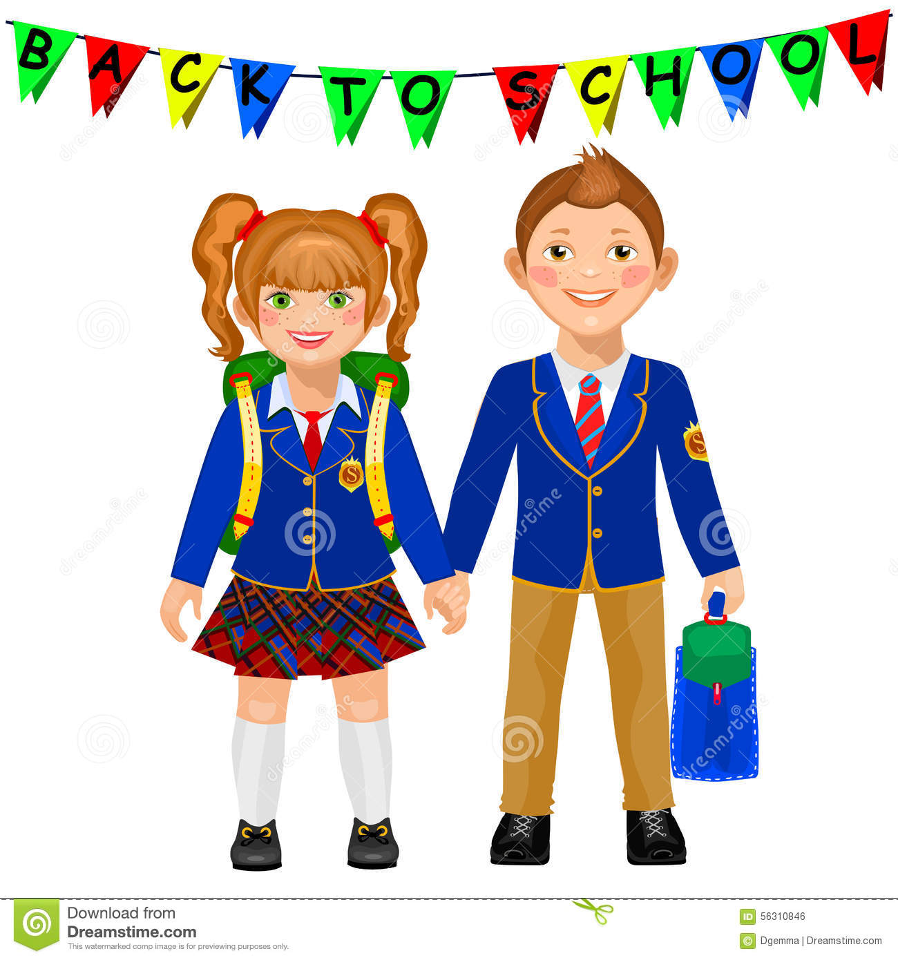 75f465e49da Boy and girl in a school uniform holding hand. royalty free illustration