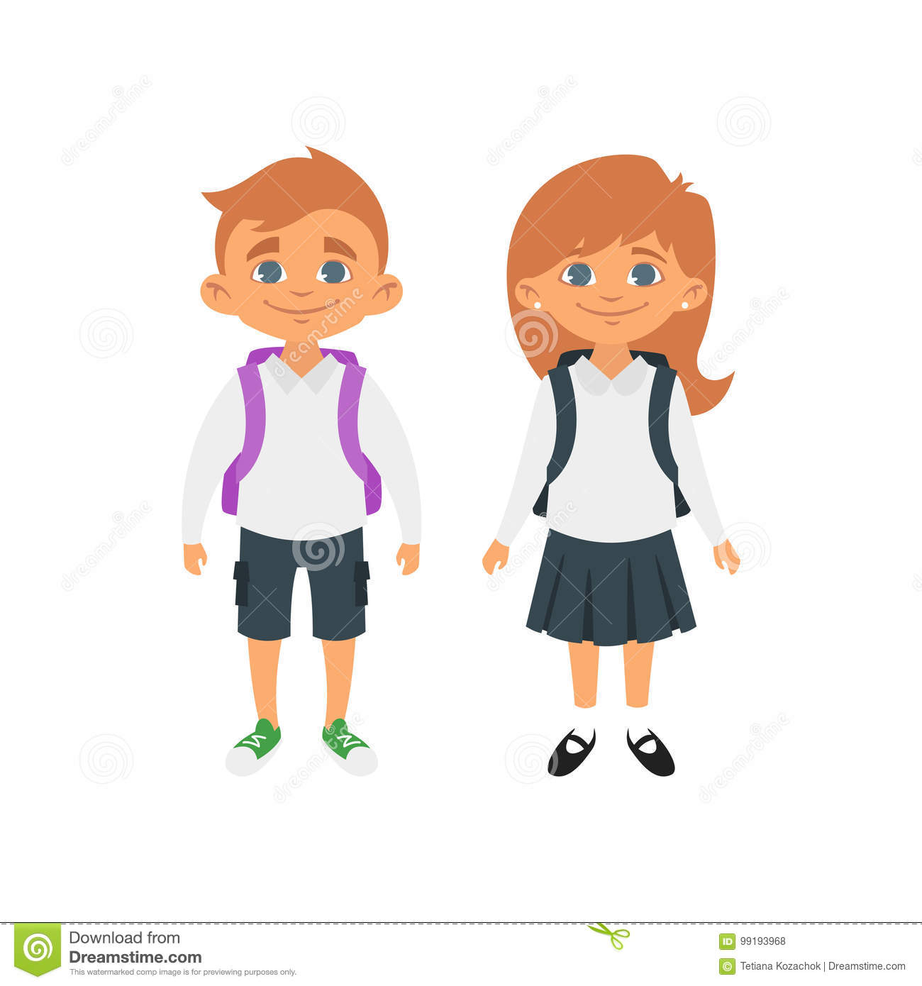 Cartoon Girl School Uniform Stock Illustrations 2 702 Cartoon Girl