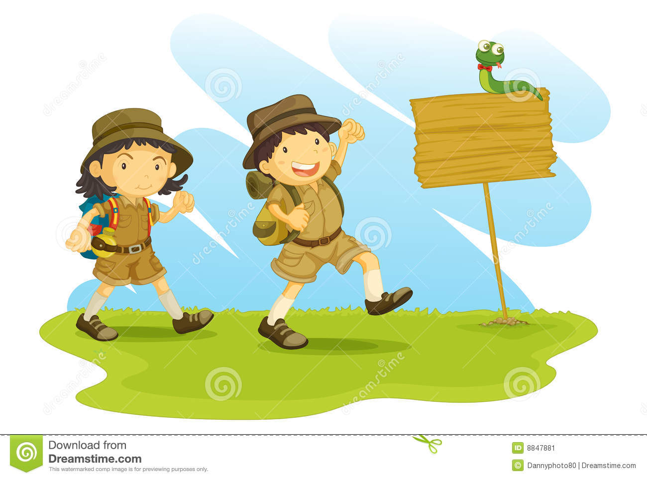 An illustration of a boy and girl scout going for a walk.