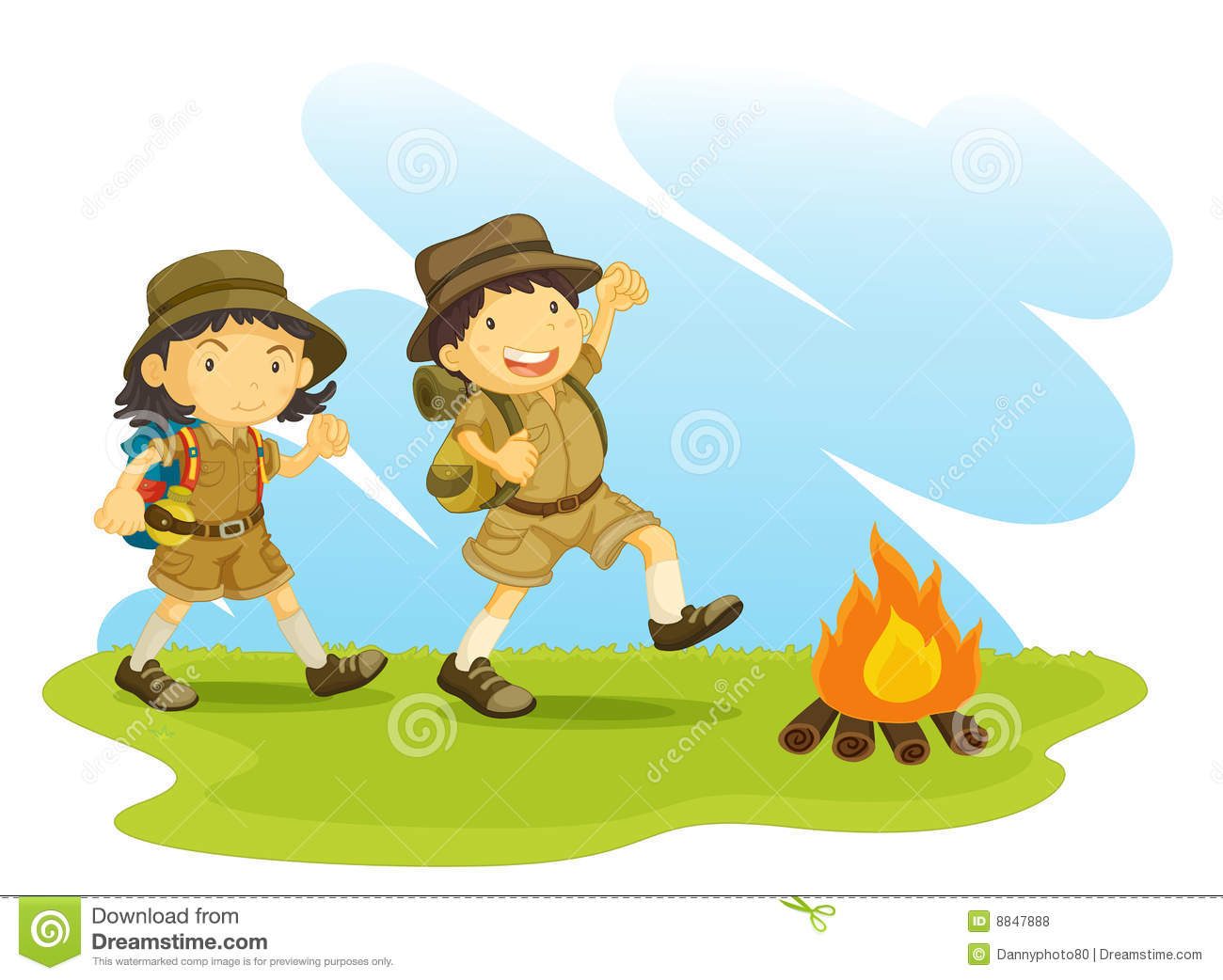 An illustration of two scouts outside next to a camp fire.