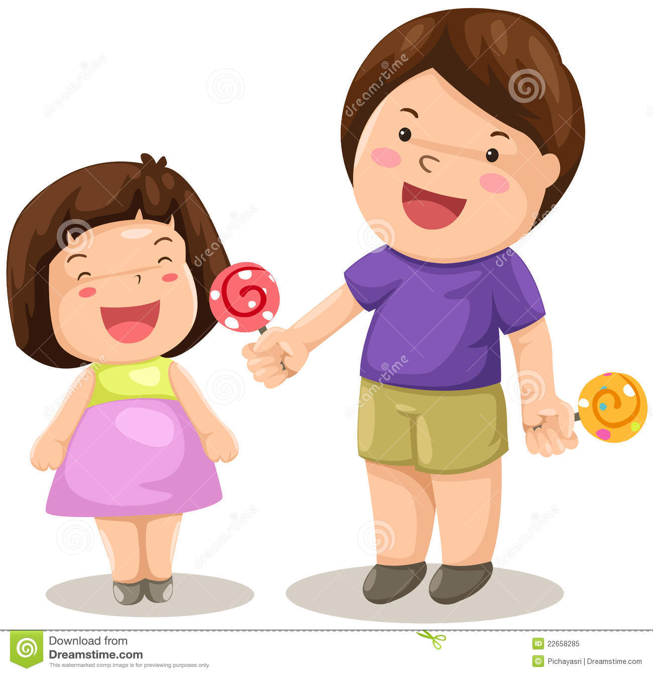 Boy And Girl Share Candy Royalty Free Stock Photo Image