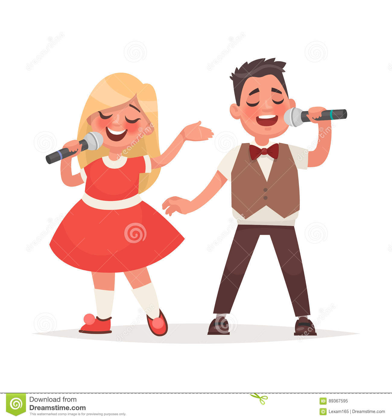 Boy And A Girl Sing A Song Into A Microphone. Children`s ...