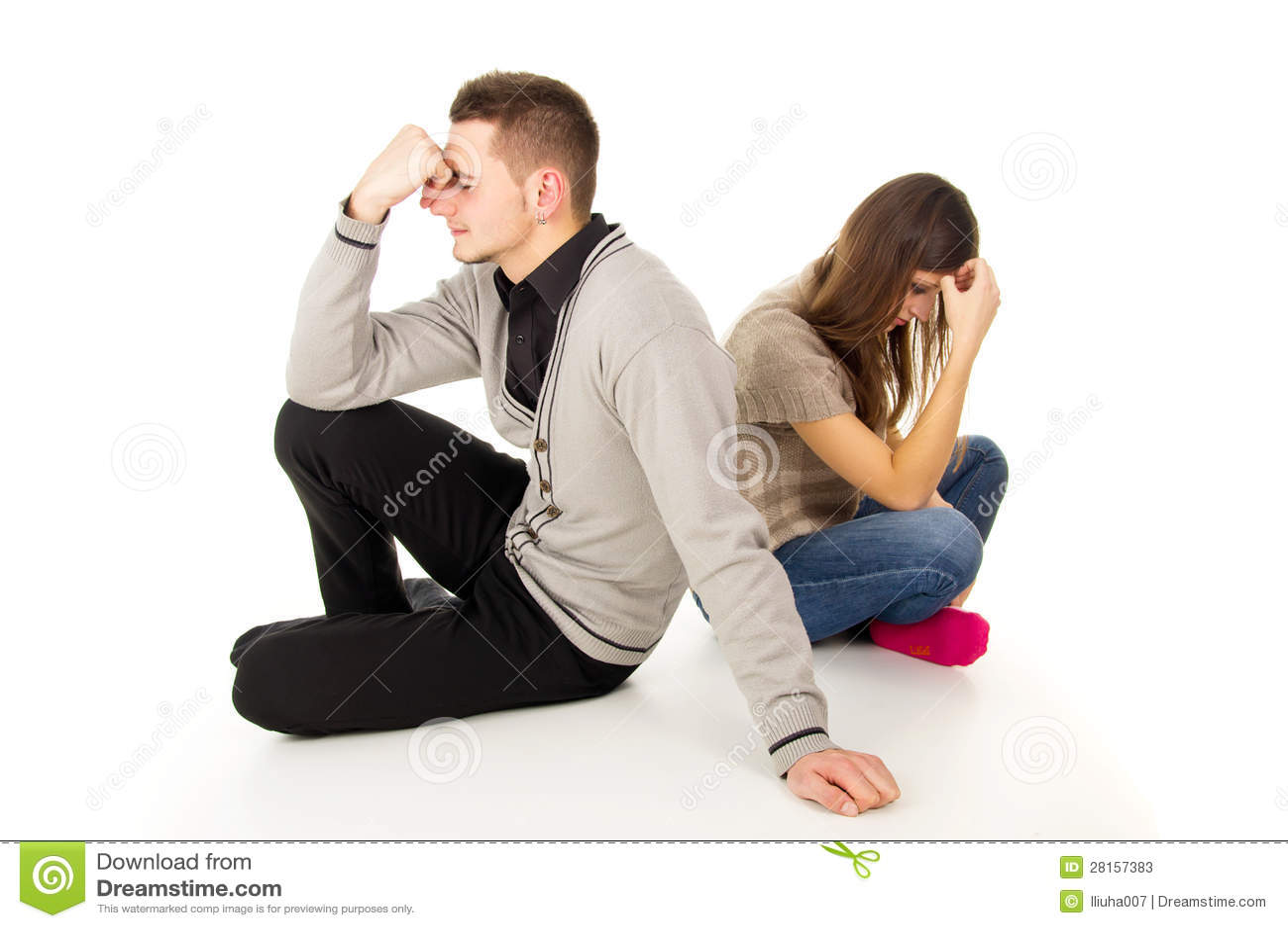 Boy And Girl Sit Sad Stock Image Image Of Betrayal, Friendship - 28157383-3485