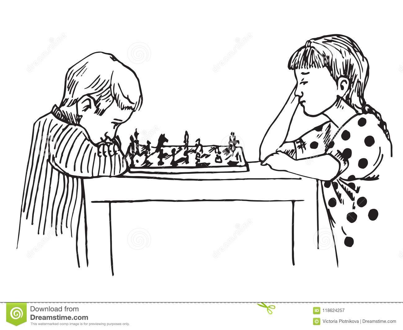 Boy and girl sitting and playing chess stock vector