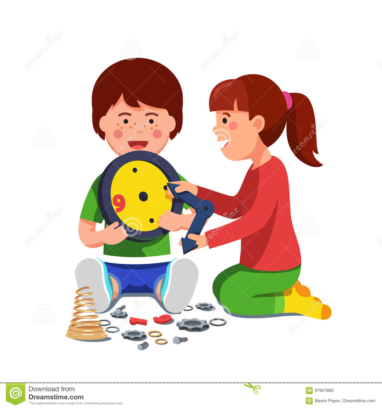 Boy and girl sitting playing with mechanical clock