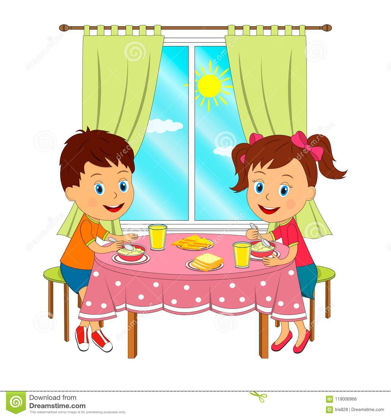 Eating Table Cartoon: Boy And Girl Are Sitting At The Table And Eating Stock