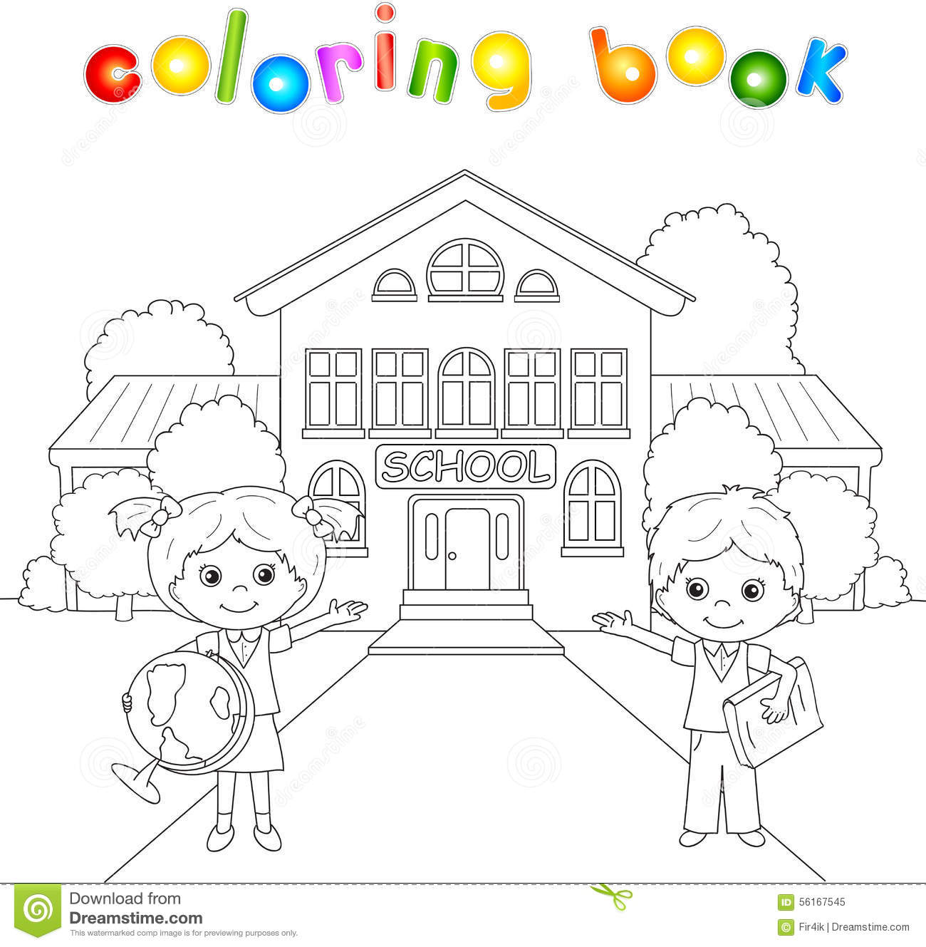 Coloring Book For College Crybabies Boy And Girl Standing Near The School Building In A