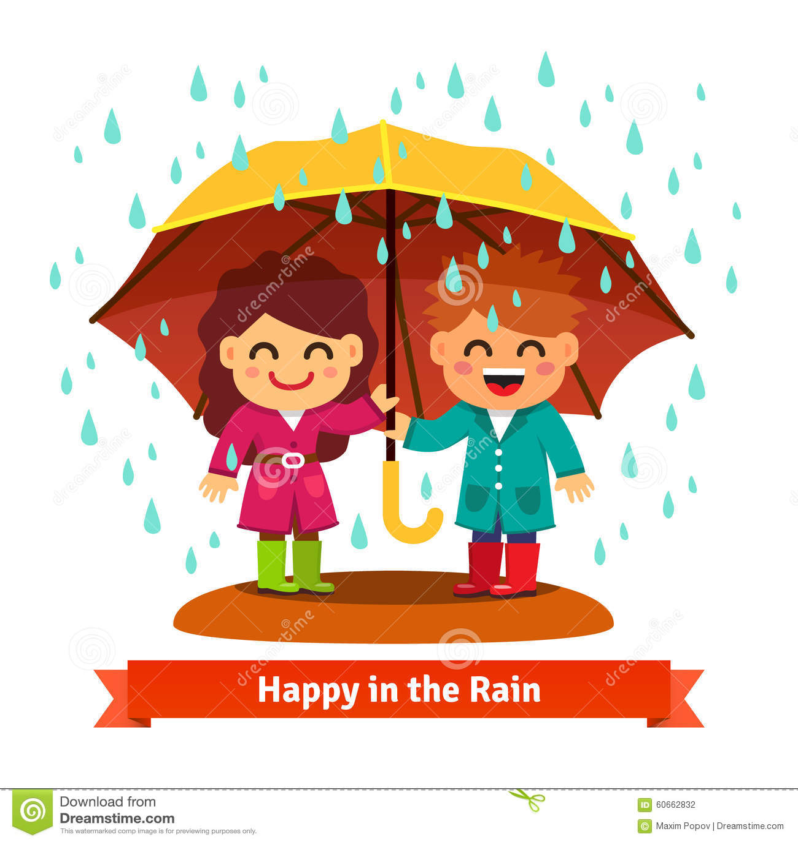 Boy And Girl Standing In The Rain Under Umbrella Stock Vector