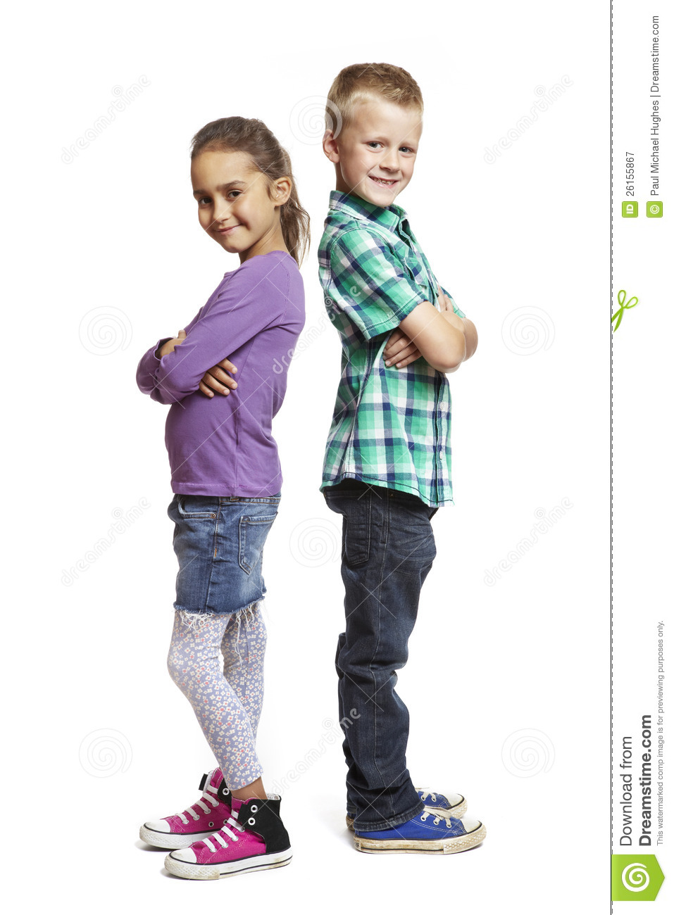 Boy And Girl Bedroom Decor: Boy And Girl Stood Back To Back Royalty Free Stock