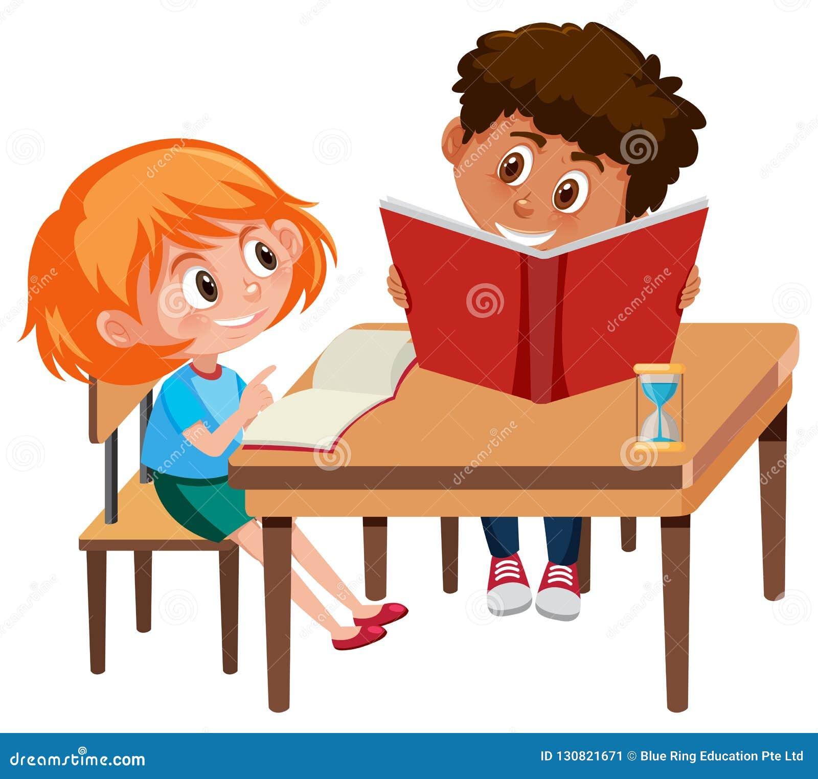 Boy and girl study