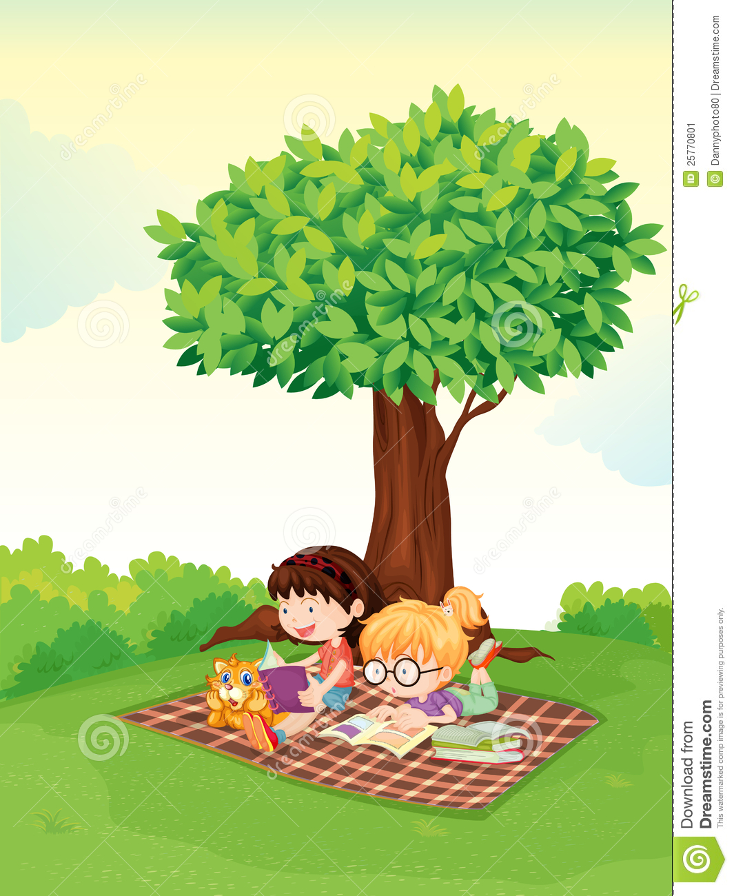 A Boy And Girl Studying Under Tree Stock Illustration ...