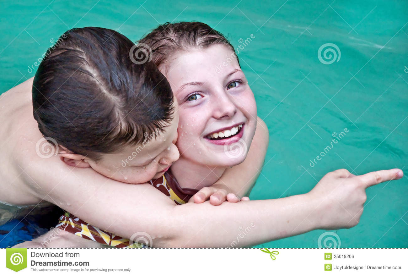 Boy And Girl Swimming In Pool Closeup Royalty Free Stock Image Image 25019206