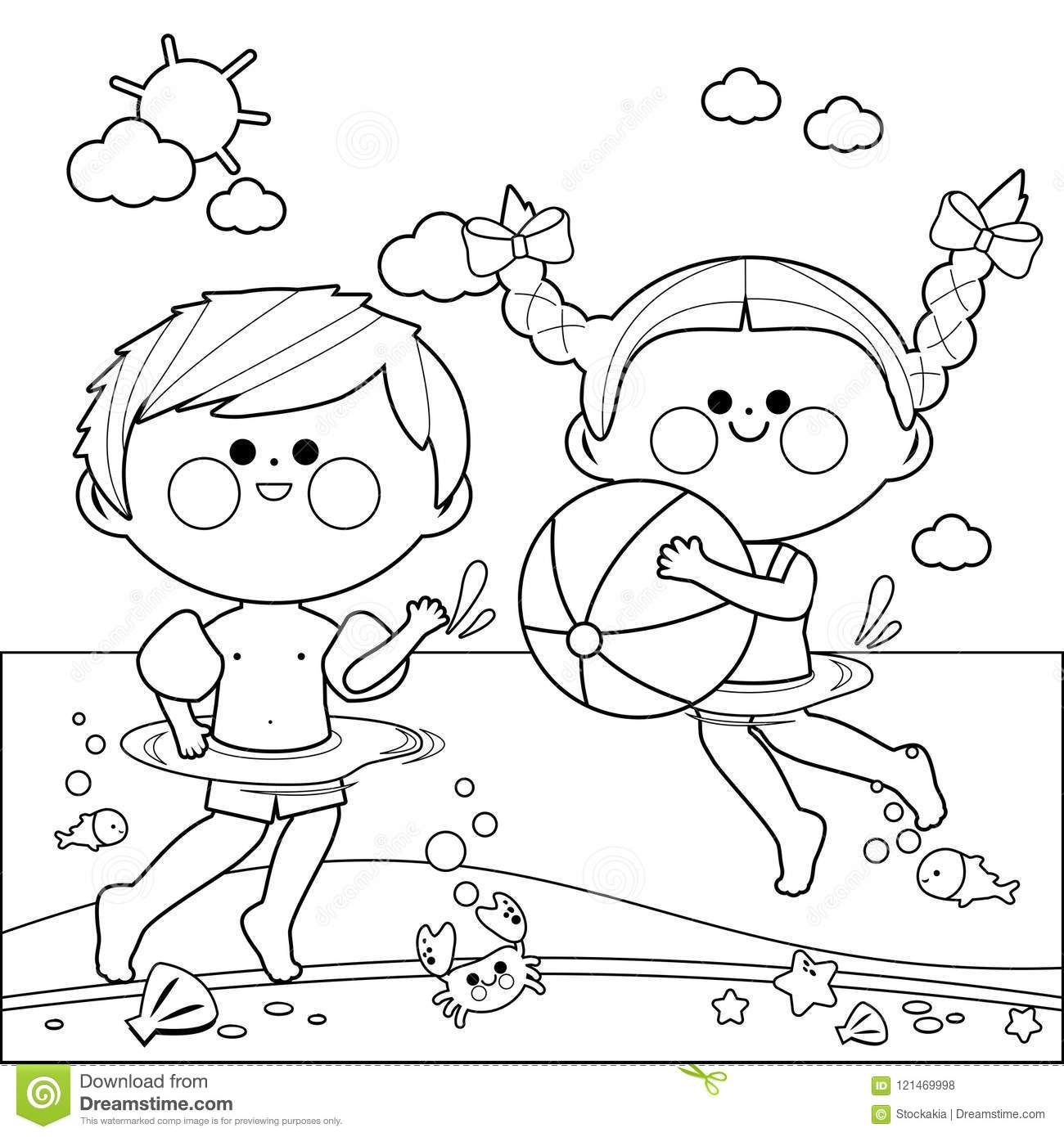 swimming kids coloring pages - photo#14