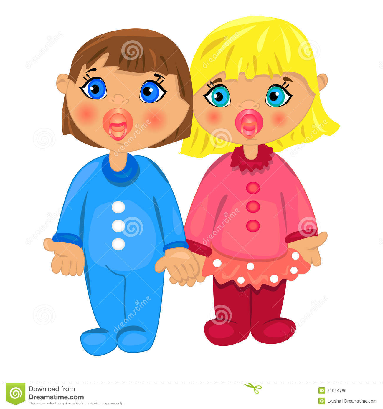 Boy Girl Twins Isolated White Background Stock Illustrations 217