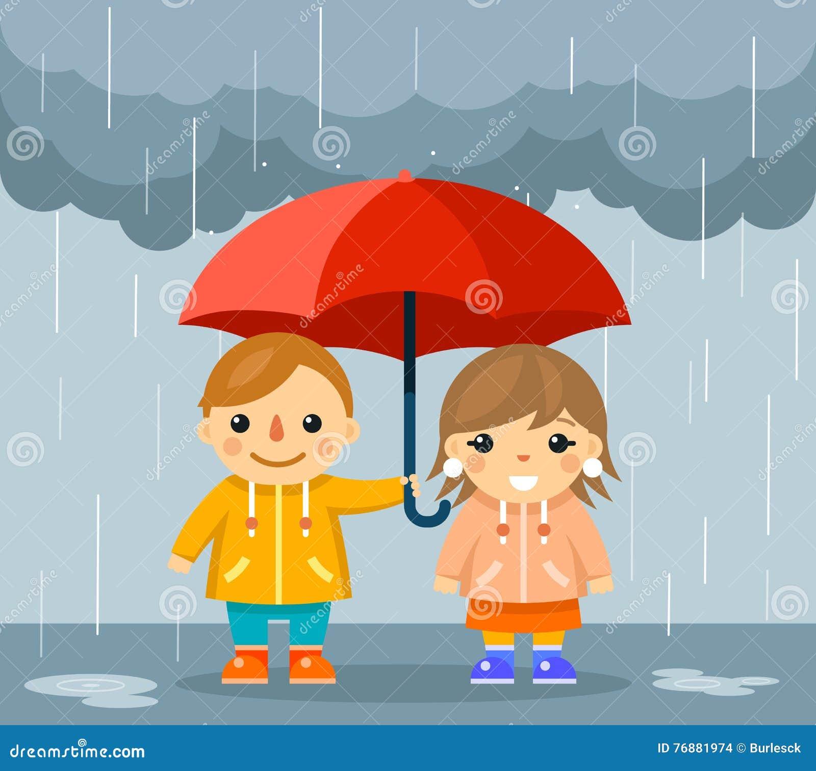 Boy Standing Under Umbrella In Rain Stock Photography ...
