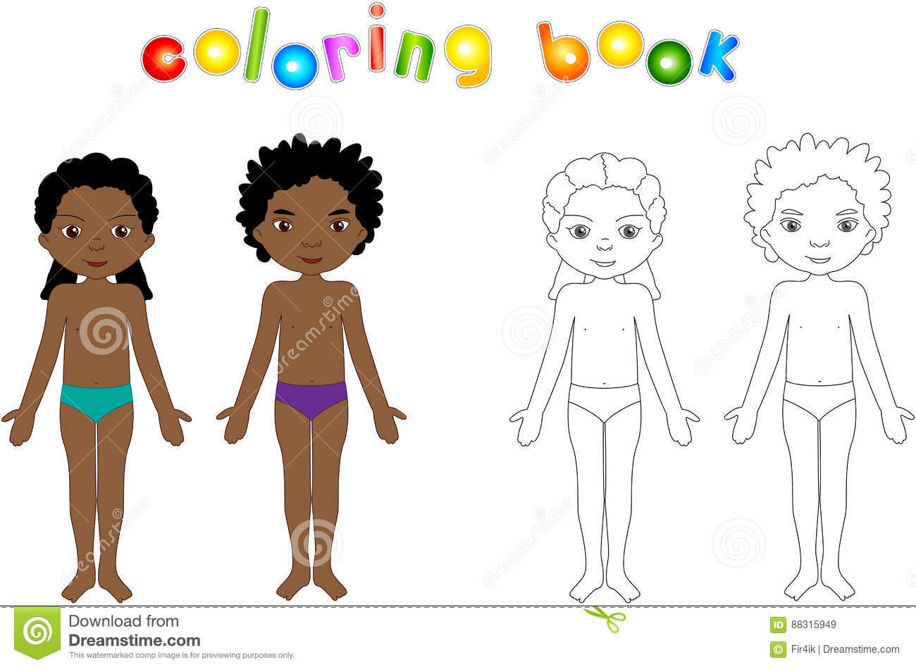 Boy And Girl Unclothed. Educational Coloring Book For Kids Stock ...