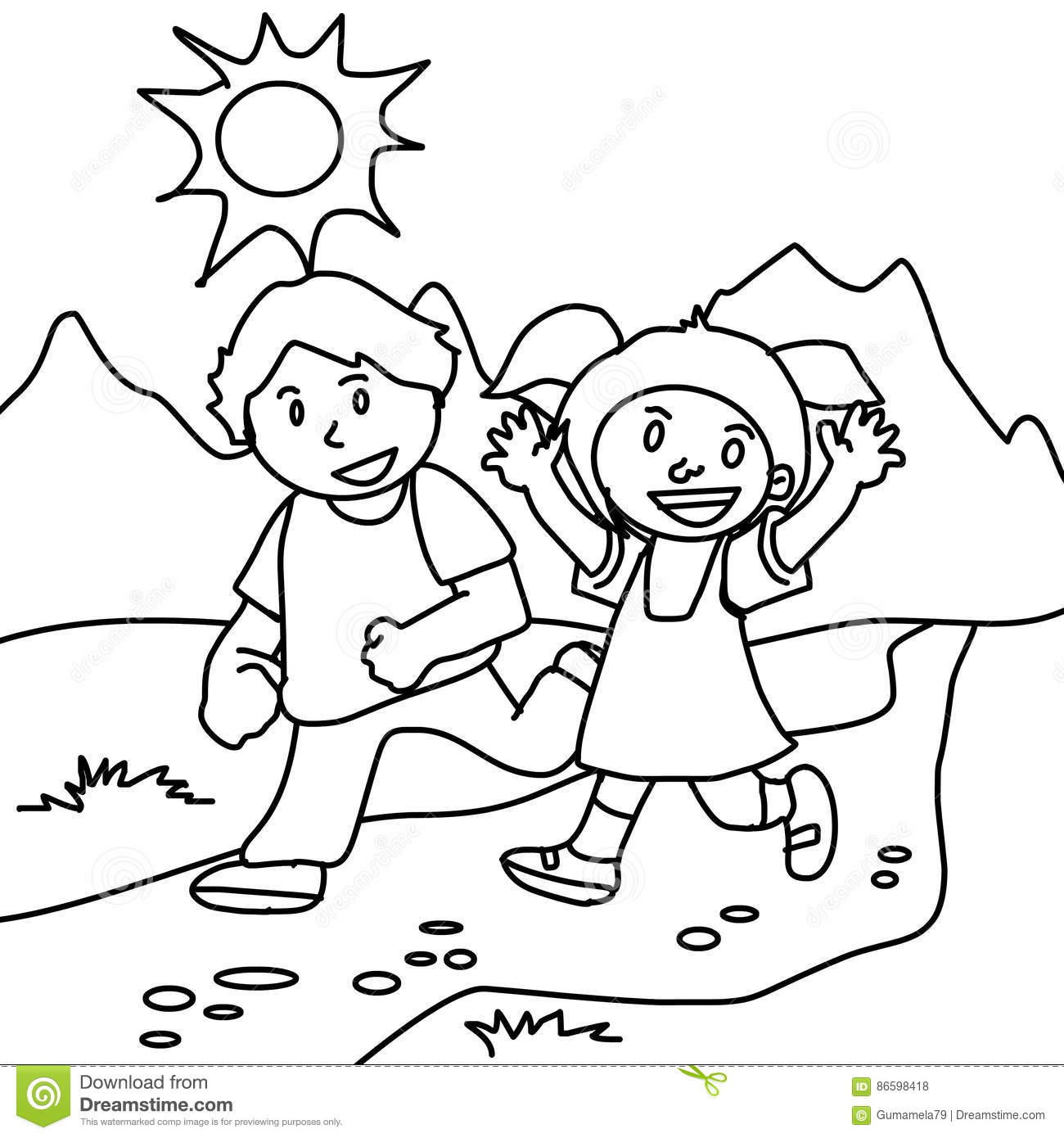 Boy And Girl Walking Coloring Page Stock Illustration