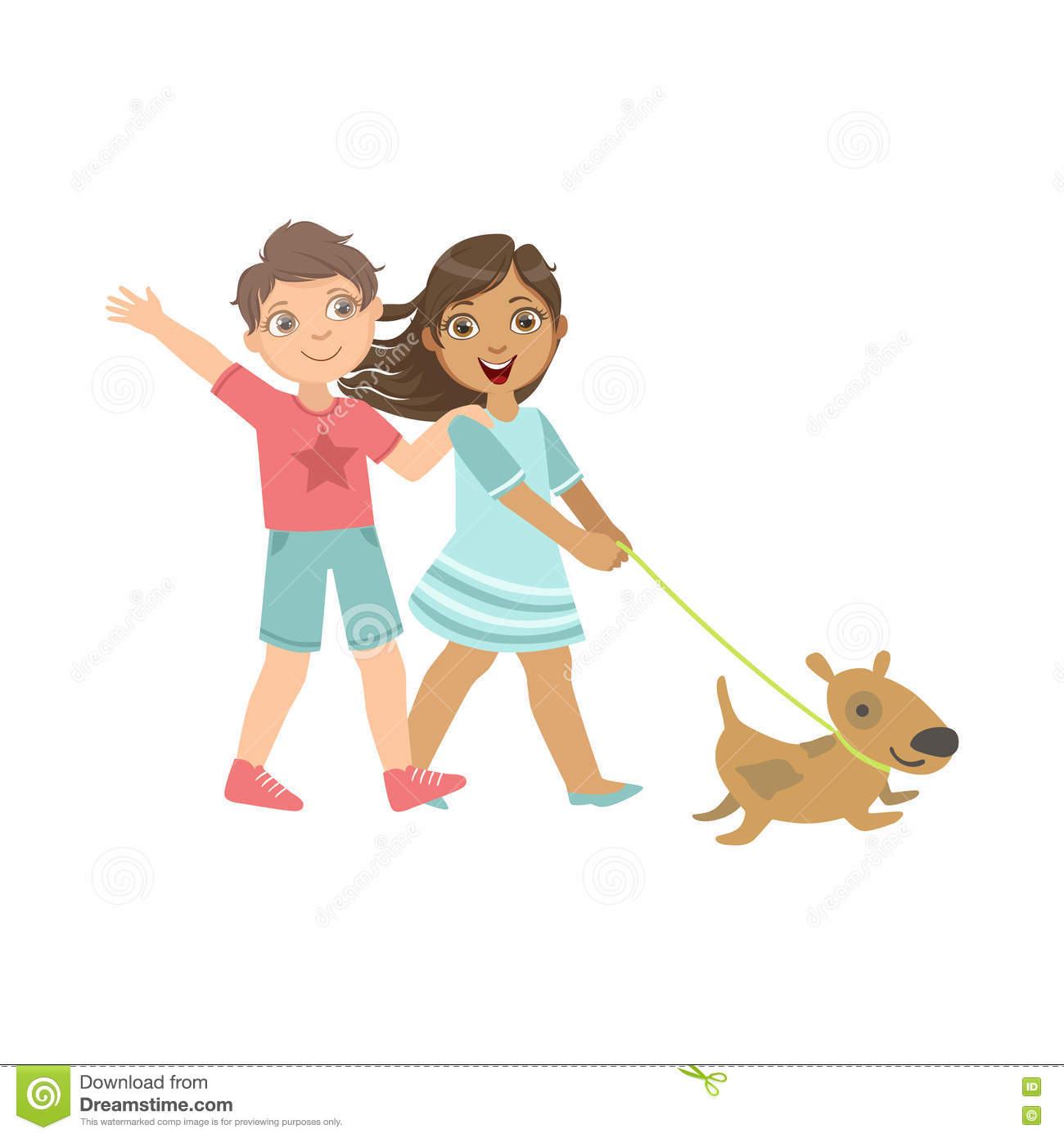 Boy And Girl Walking The Dog Together Stock Vector ...