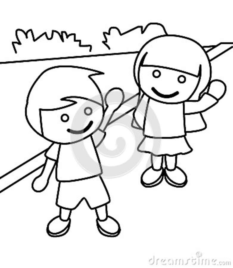 Download Boy And Girl Waving Coloring Page Stock Illustration