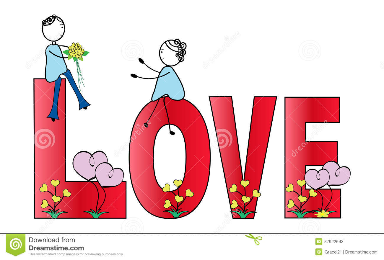 Download Boy And Girl The Word Love Stock Vector