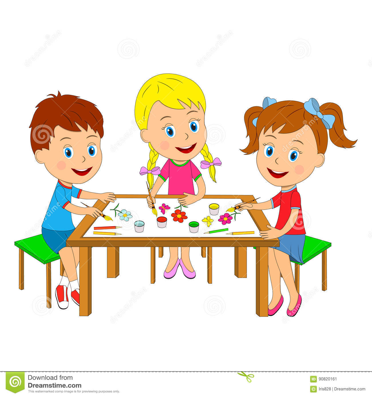 Boy Toys Drawing : Boy and girls draw at the table stock vector