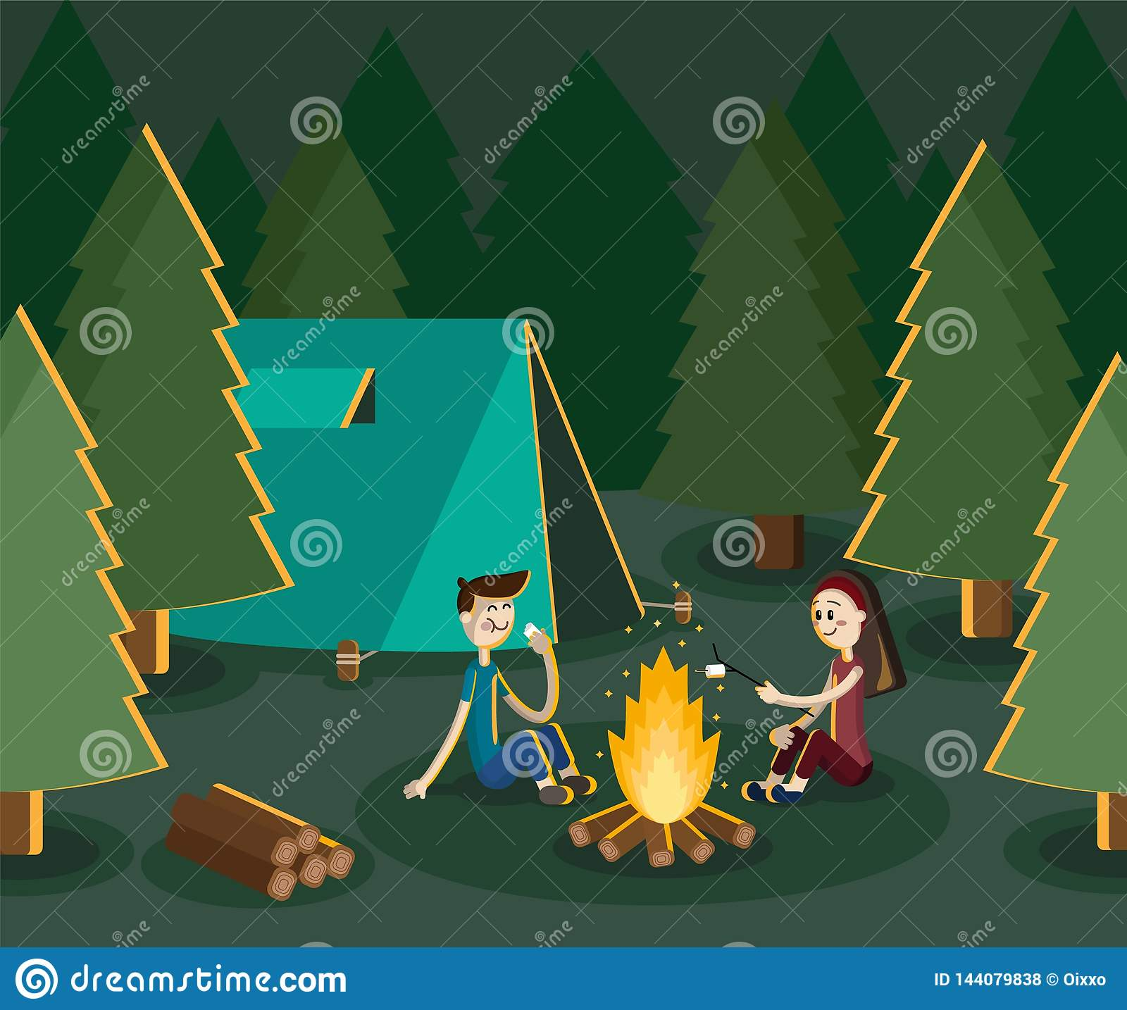 Boy and girl camping in the forest by the campfire. Vector flat illustration