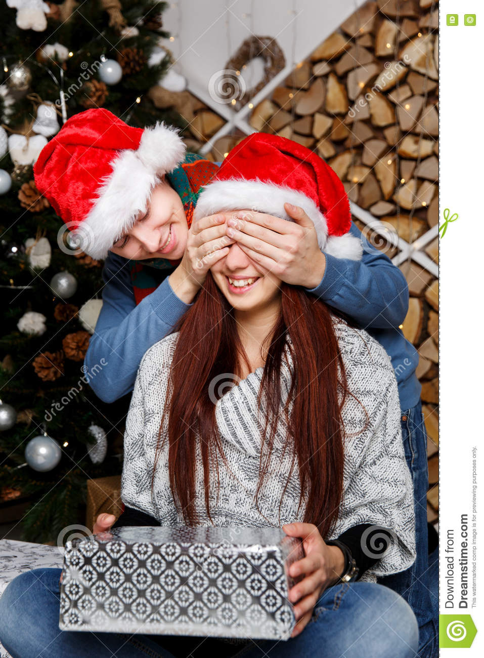 Boy Gives Girlfriend Surprise Gift Stock Image - Image of ...