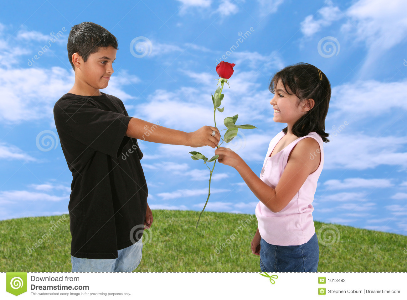 Boy giving girl a rose stock photography image 1013482