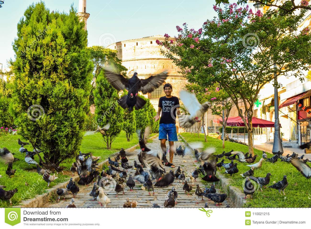 The boy and the pigeons.