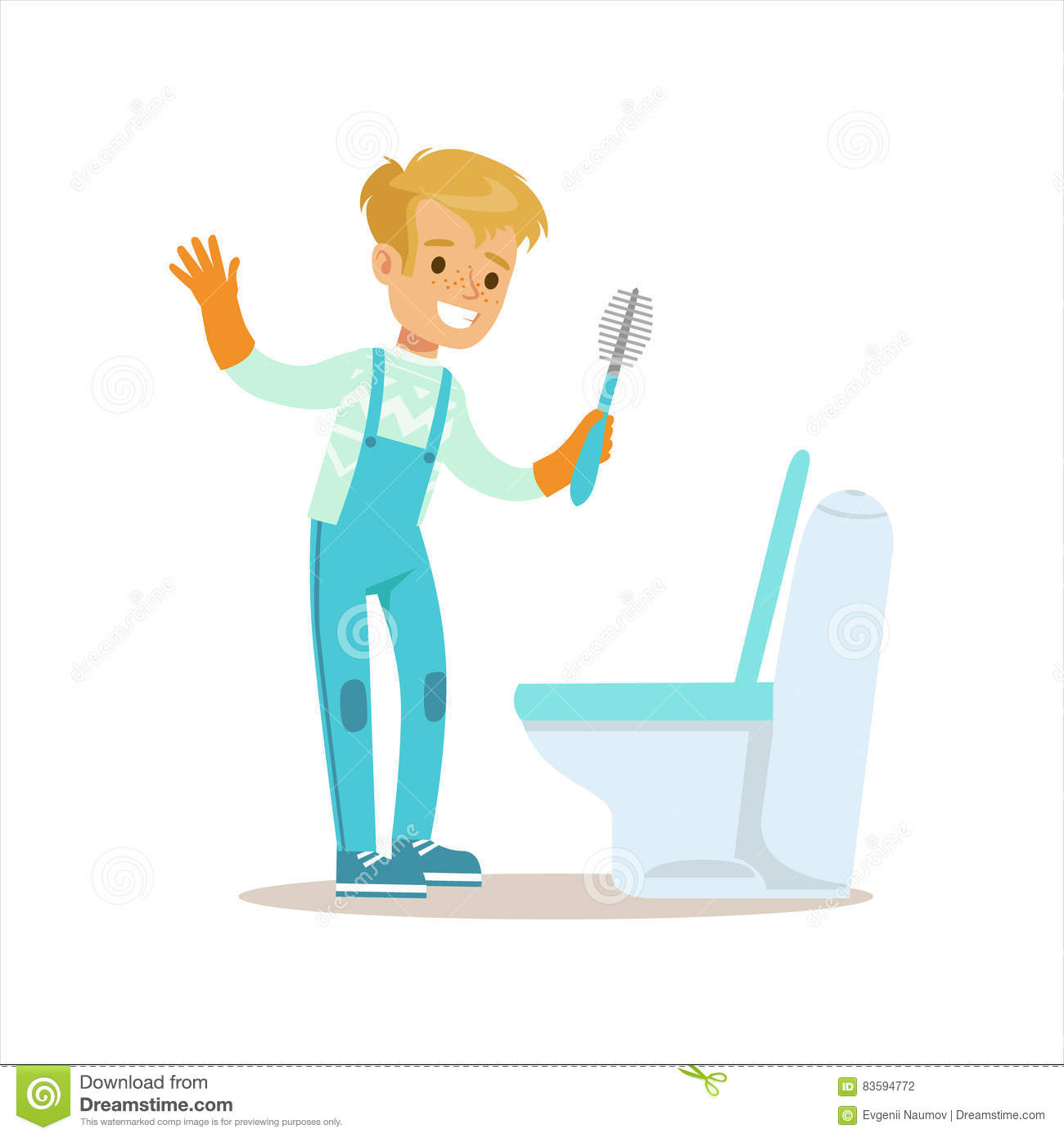 Boy In Gloves Cleaning Toilet With Brush Smiling Cartoon Kid Character Helping Housekeeping And Doing House Cleanup