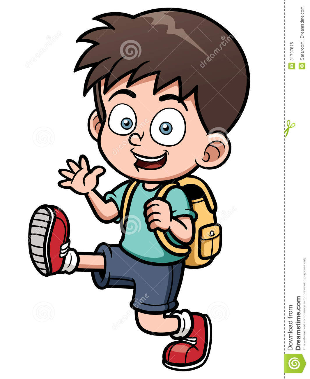 Boy Go To School Stock Vector. Illustration Of Painting