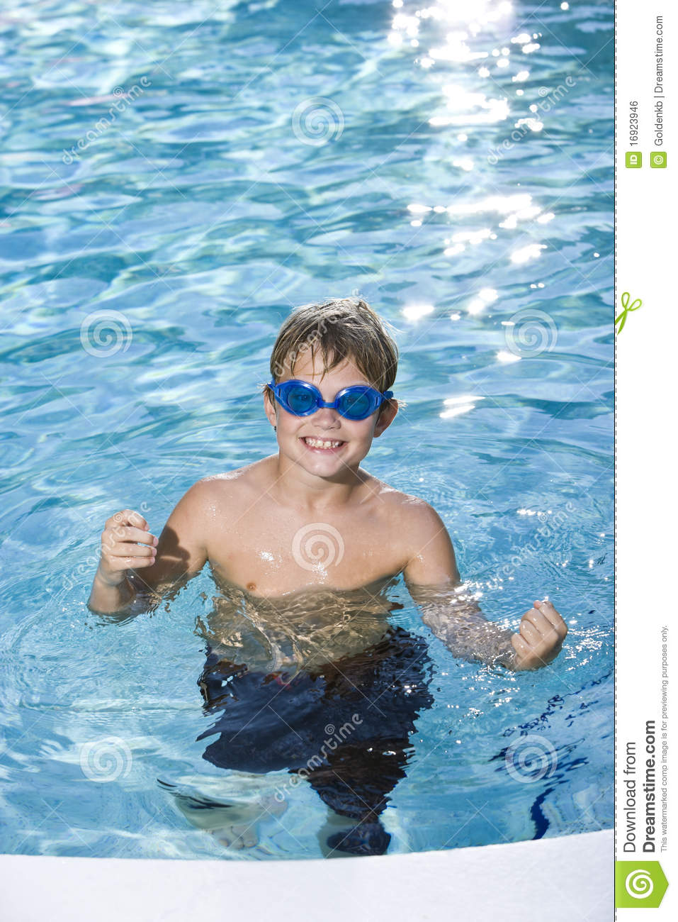 Free Swimming Pool: Boy With Goggles In Swimming Pool Stock Photo