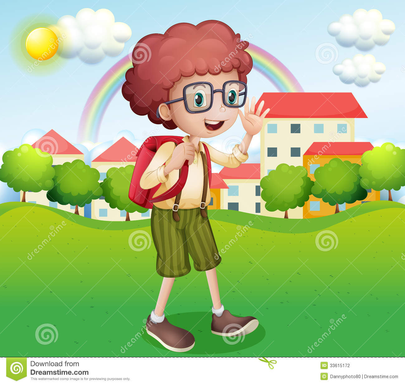 A boy going home from school stock illustration image for Aller a la maison