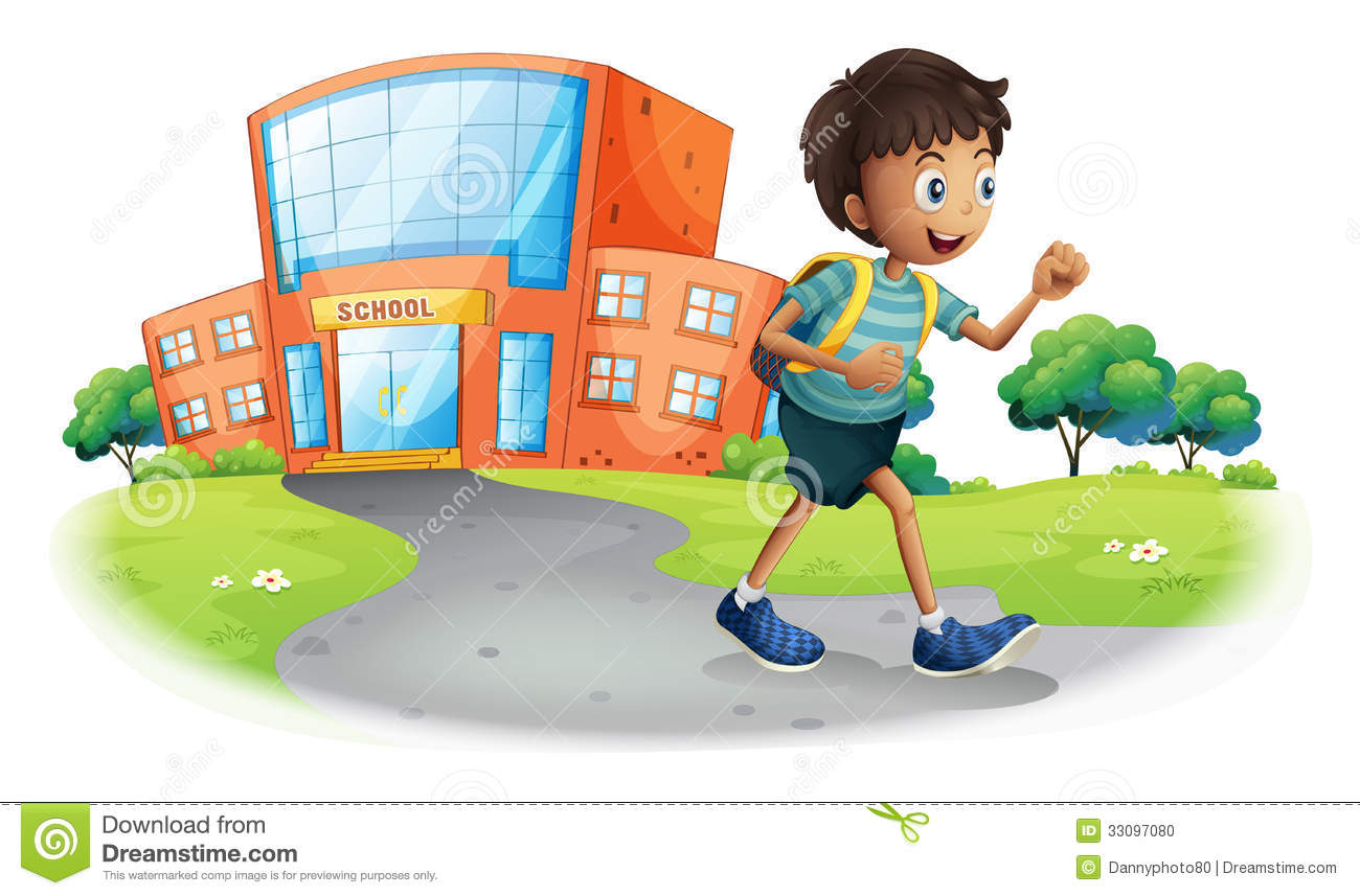 A boy going home from school