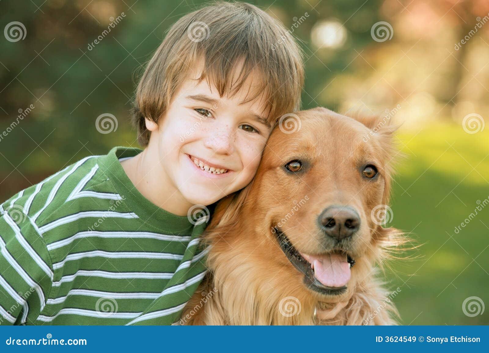 Boy with Golden Retriever